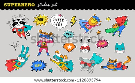 Superhero animals cute sticker collection. Vector hand drawn illustrations
