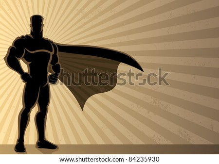Superhero Background: Superhero over a grunge background with copy space.  No transparency used. Basic (linear) gradients used for the background. A4 proportions.
