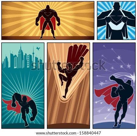 Superhero Banners 2: Set of 5 superhero banners. No transparency and gradients used.
