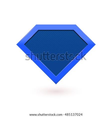 Superhero blue logo shield icon emblem. Vector diamond symbol shape superhero icon.