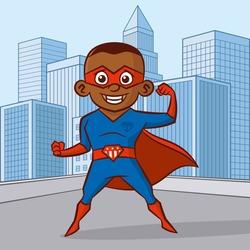 Superhero boy Cartoon character in the city Vector illustration