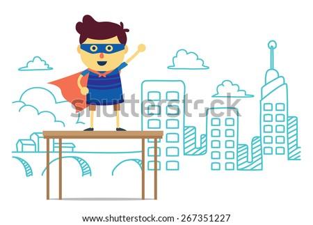 superhero boy post front city