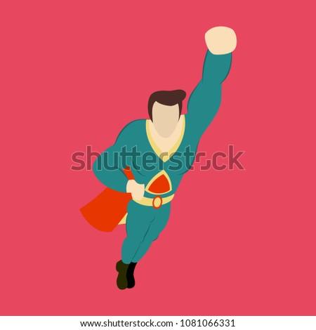 superhero cartoon icon with