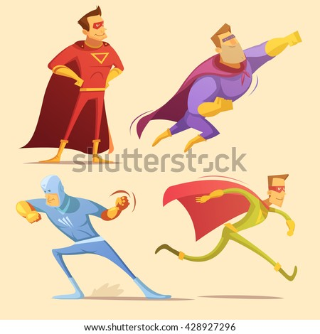 superhero cartoon icons set