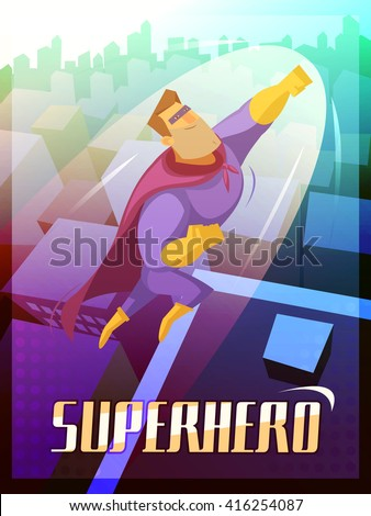 superhero cartoon poster with