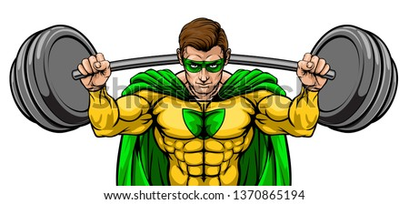 Superhero cartoon sports mascot weightlifter super hero character lifting very large barbell weight