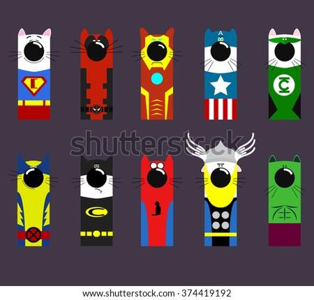 superhero cats team set