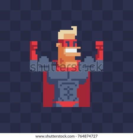 Superhero character. Pixel art flat style. 8-bit. Sticker design. Isolated vector illustration.