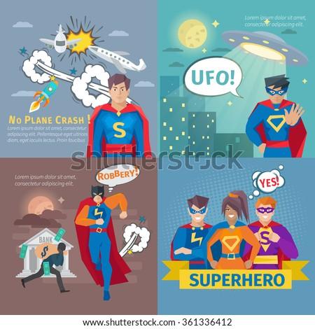 superhero concept icons set
