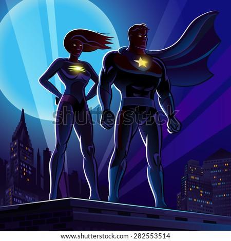 superhero couple male and