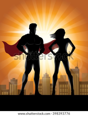Superhero Couple Silhouette with City Skyline Background