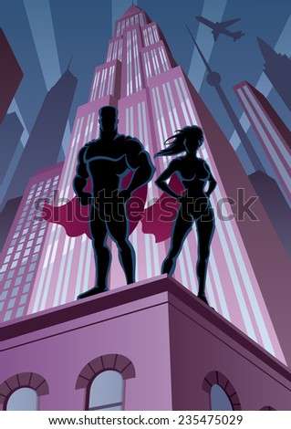 superhero couple watching over