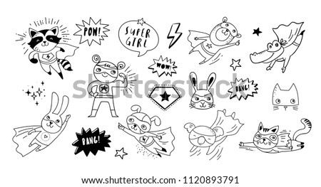 Superhero cute hand drawn animals, cat, dog, panda, bear and crocodile vector black and white characters