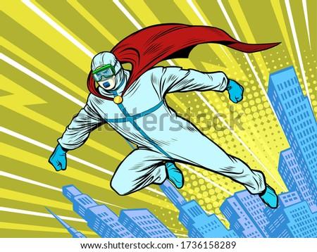 superhero doctor man protects