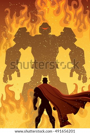 superhero facing giant evil