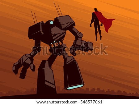 superhero facing giant robot