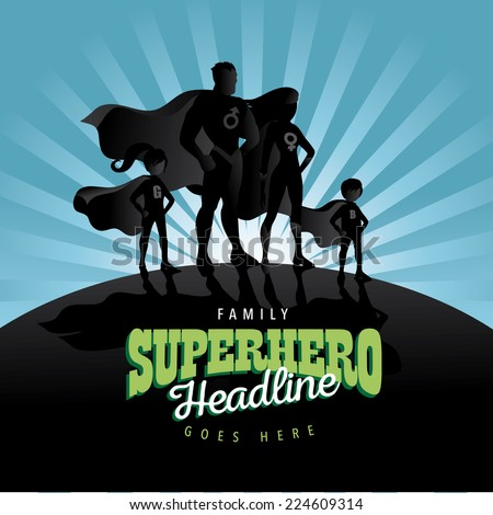 Superhero Family burst background Jpg or EPS 10 vector
