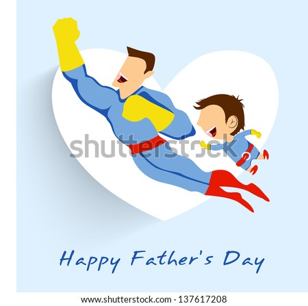 Superhero father and son flying up on white heart shape blue background for Happy Fathers Day