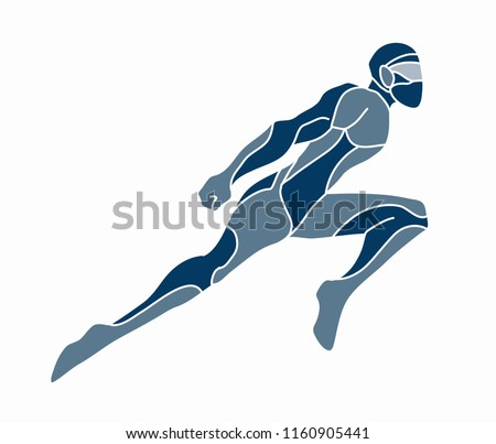 Superhero flying action, Cartoon superhero man jumping graphic vector.