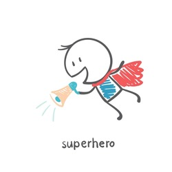 superhero flying and says to the speaker illustration
