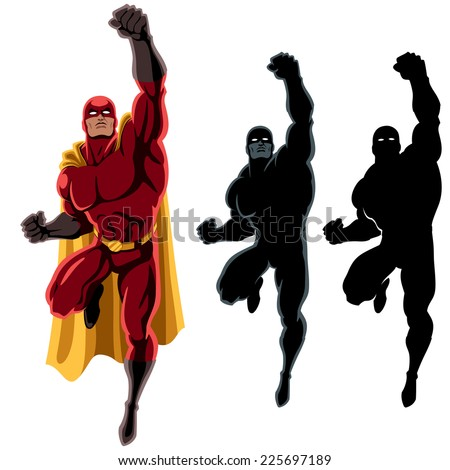 Superhero Flying 2: Flying superhero over white background. 2 additional silhouette versions. No transparency and gradients used.
