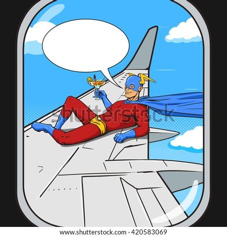 superhero flying on airplane