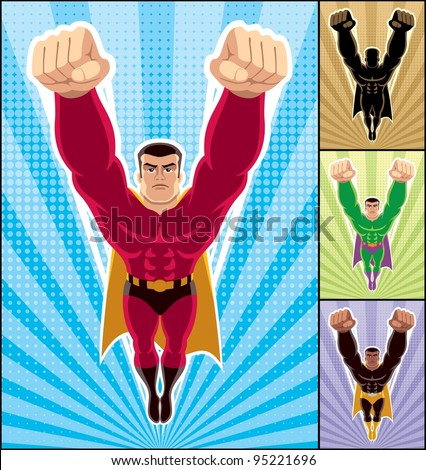 Superhero Flying: Superhero in action. 3 additional versions of the illustration are also included. A4 proportions. No transparency and gradients used.