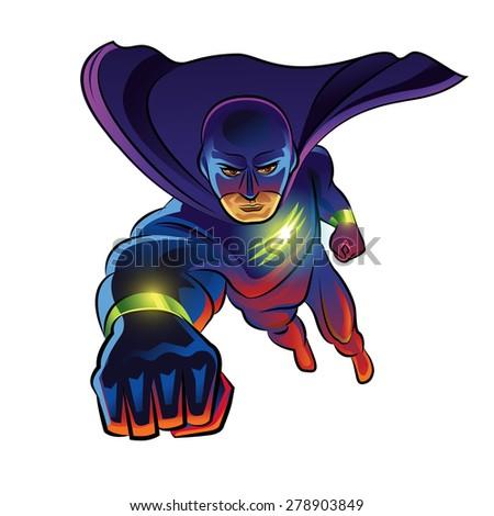 superhero flying superhero in