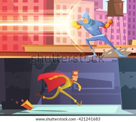 superhero horizontal cartoon
