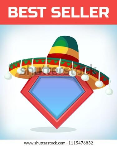 Superhero icon - Superhero logo. Super hero shield with Sombrero Mexican hat. Masquerade costume headdress. Carnival or Halloween mask. Cartoon Vector illustration. Stock fotó ©