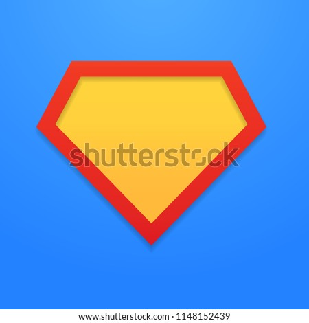 Superhero icon, symbol, element, sign. Shield, emblem superman. Blank superhero badge. Vector illustration. EPS 10