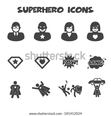 superhero icons  mono vector