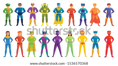 superhero icons set cartoon