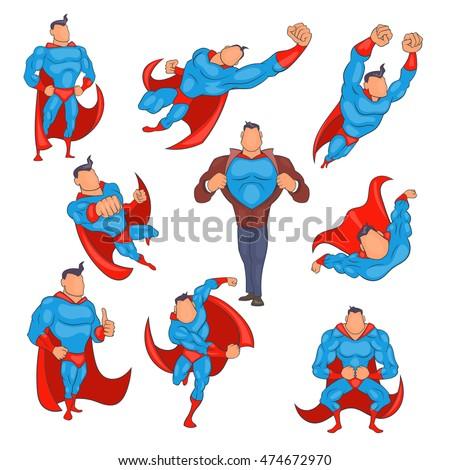 superhero icons set in cartoon