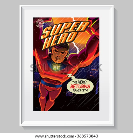 superhero in action fake comic