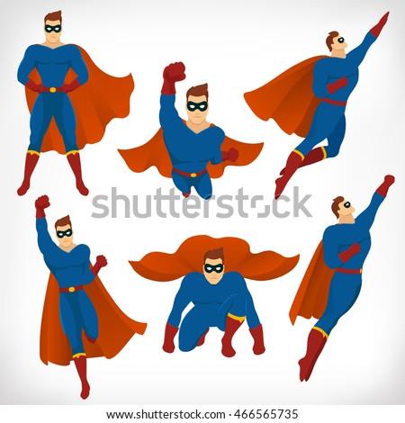 superhero in action  icon set