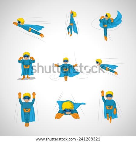 superhero in action set