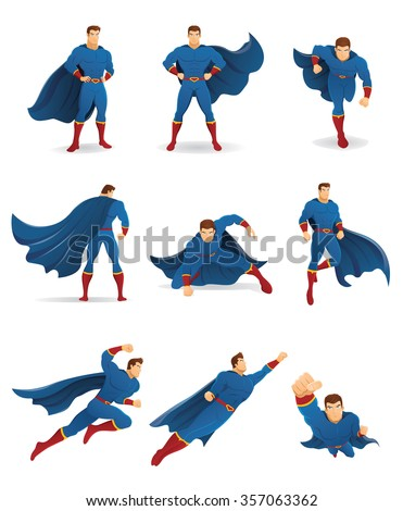 superhero in action set of