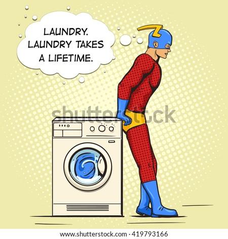 superhero in the laundry