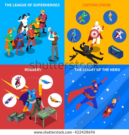 superhero isometric icons set