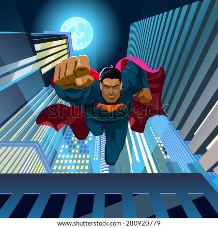 Stock Photo Superhero jumps off the roof and flies at the camera. Vector illustration