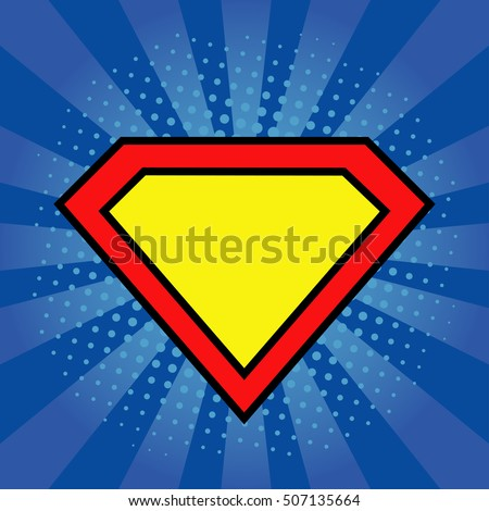 Superhero logo template at bright blue, pop art background. Vector, isolated, eps10.