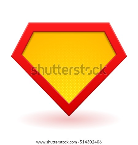 Superhero logo template. Red, yellow and orange. Halftone dots, shadows. Vector, isolated, eps 10.
