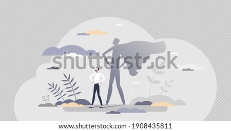Superhero male as professional strong and brave leader tiny person concept. Everyday human with cape costume in shadow reflection as confident, caring and powerful dad or husband vector illustration.