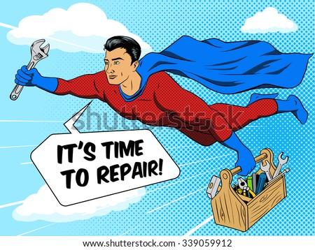 superhero man with tool box