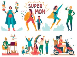 Superhero mother takes care of child, cartoon character vector illustration. Super mom in costume, people with supernatural powers protect kids, woman working from home and doing housework
