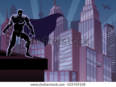 Superhero on Roof: Superhero watching over the city. No transparency used. Basic (linear) gradients. A4 proportions.
