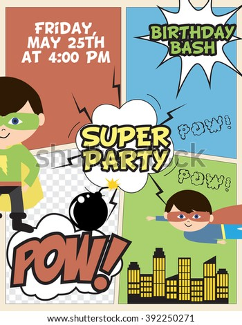 superhero party invitation card