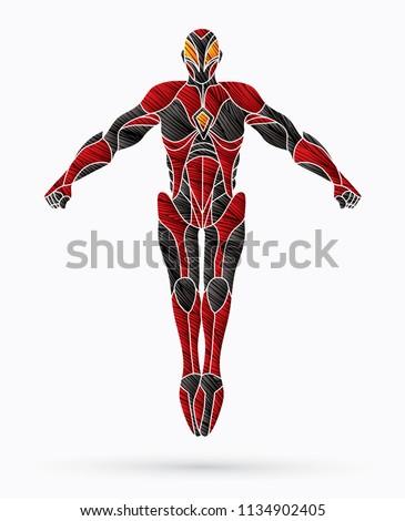 superhero robot action  cartoon