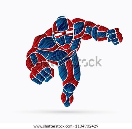 superhero robot flying action